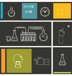 Set of flat design icon for experiment vector