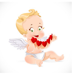 Cute little cupid sitting on the floor and holding vector
