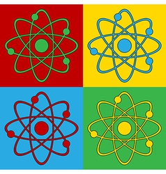 Pop art atom icons vector