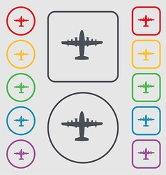 Aircraft icon sign symbol on the round and square vector