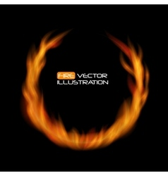 Naturalistic fire frame on dark background vector