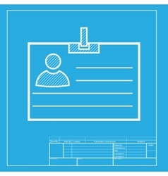 Id card sign white section of icon on blueprint vector
