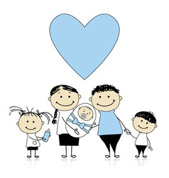 Happy parents with children newborn baby in hands vector image