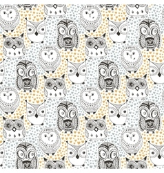 Childish pattern with funny owl doodle hand drawn vector