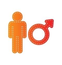 Male sign  orange applique isolated vector