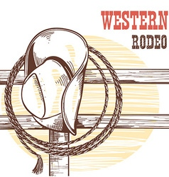 American West cowboy hat and lasso on wood vector image vector image