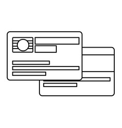 Black silhouette of credit card with chip vector