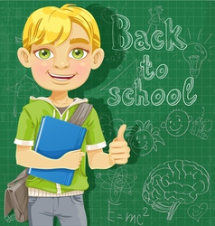 Blond teenage boy near school board vector