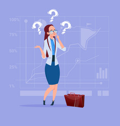 Business woman with question mark pondering vector