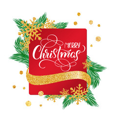 calligraphic merry christmas lettering decorated vector image