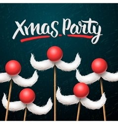 Christmas Party card Santa Claus moustache vector image vector image