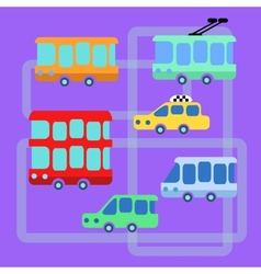 Collection urban public transport bus taxi trolley vector