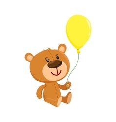 Cute retro style teddy bear character sitting and vector