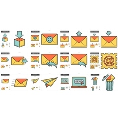 Email line icon set vector