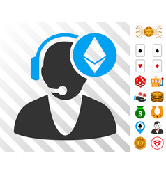 Ethereum operator icon with bonus vector