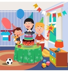 Family birthday party boy with dog vector