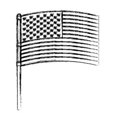 Flag united states of america in pole flat design vector