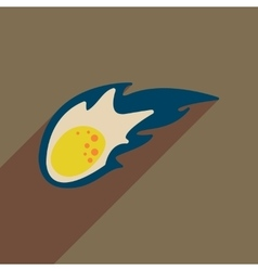 Flat web icon with long shadow comet vector
