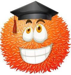 Fluffy ball with graduation cap vector