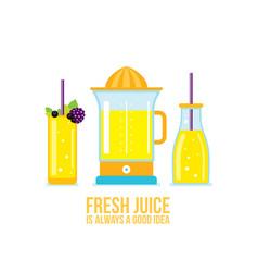 Juicer glass of juice smoothie bottle organic vector