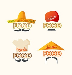 Logo set mexican chinese indian french cuisine vector