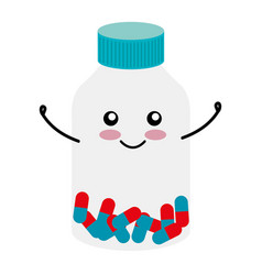 Medicine bottle kawaii character vector