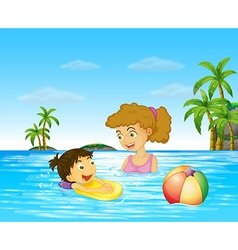 Mother and kid swimming in the ocean vector
