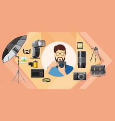 photographer tool banner horizontal cartoon style vector image