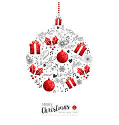 Red christmas and new year bauble decoration vector