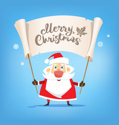 santa claus hold in hand a placard with text merry vector image