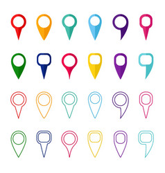 Set of colored map markers and pointers vector