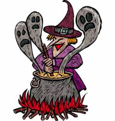 spooky witch vector image vector image