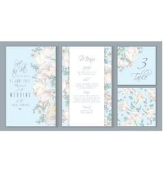 tulip blue invitation set vector image