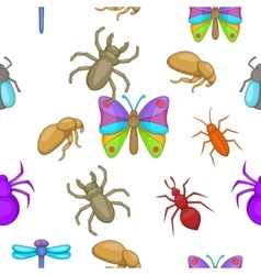 Types of insects pattern cartoon style vector