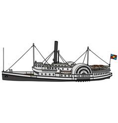 Vintage paddle steamer vector