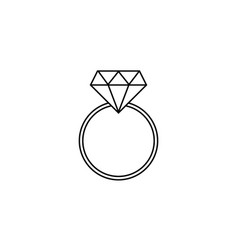 wedding diamond ring line icon engagement ring vector image
