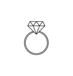 Wedding diamond ring line icon engagement ring vector