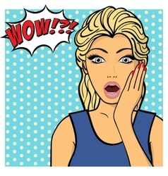 Young woman lady shows amazement shok comic vector
