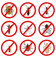 Pest and insect control icons set tick and vector