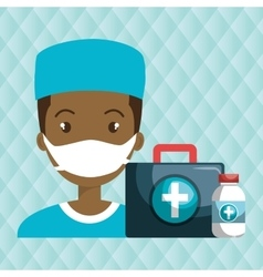 Nurse man first aid medicine vector