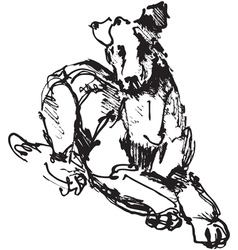 ink sketch of dog playing young terrier vector image