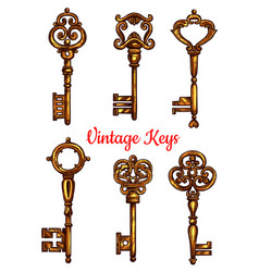 Vintage key and skeleton isolated sketch set vector