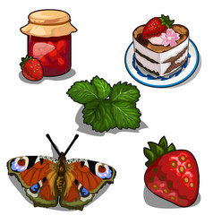 Strawberry jam berry cake and butterfly vector