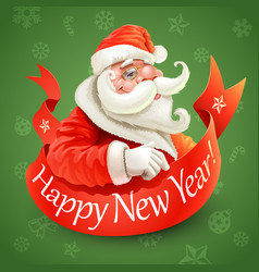 New year card with santa claus on green background vector