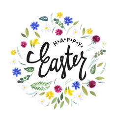 Happy easter watercolor flowers and calligraphy vector
