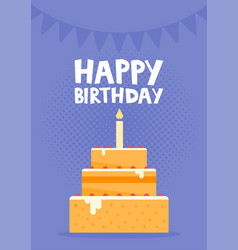 Happy birthday card design with cake vector