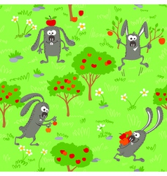 Seamless with bunnies vector image
