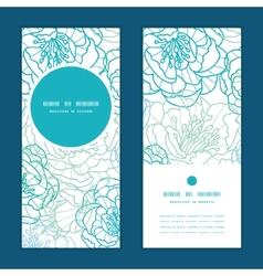 Blue line art flowers vertical round frame pattern vector