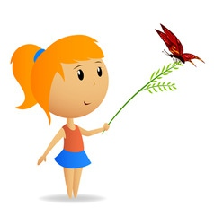cute little girl with green branch with butterfly vector image