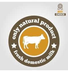 Vintage label logo emblem template of milk on vector image